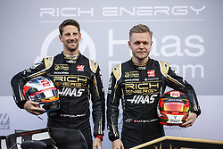 February 18, 2019 - Barcelona, Barcelona, Spain - Rich Energy Haas F1 Team presentation with Romain Grosjean from France with 08 Rich Energy Haas F1 Team portrait and Kevin Magnussen from Denmark with 20 Rich Energy Haas F1 Team portrait during the Formula 1 2019 Pre-Season Tests at Circuit de Barcelona - Catalunya in Montmelo, Spain on February 18, 2019. (Credit Image: © Xavier Bonilla/NurPhoto via ZUMA Press)