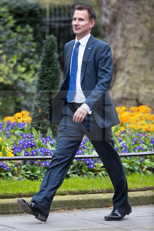 © Licensed to London News Pictures . 29/03/2017 . London , UK . JEREMY HUNT arrives . Ministers arriving and leaving for a Cabinet meeting and Prime Minster's Questions , at 10 Downing Street , Westminster . Today (29th March 2017) the British Government will trigger Article 50 of the Lisbon Treaty and commence Britain's withdrawal from the European Union . Photo credit : Joel Goodman/LNP