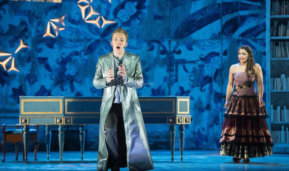Il barbiere di Siviglia  an opera buffs in two acts by Gioachino Rossini.<br /> <br /> <br /> Glyndebourne Festival Opera. <br /> Conductors Enrique Mazzola<br /> Director - Annabel Arden<br /> Designer- Joanna Parker<br /> Lighting - James Farncombe, <br /> <br /> London Philharmonic Orchestra<br /> <br /> Fiorello - Huw Montague Rendall<br /> Count Almavivia - Taylor Stanton<br /> Figaro - Bjorn Burger<br /> Rosina - Danielle de Niese<br /> Dr Bartolo - Alessandro Corbelli<br /> Berta - Janis Kelly<br /> Basilio - Christopher Stamboglis<br /> Officer - Adam Marsden