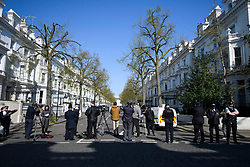 © Licensed to London News Pictures. 13/04/2019. London, UK. Media and police at the scene in Holland Park after shots were fired near the Ukrainian embassy. Photo credit: Ben Cawthra/LNP