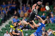 Kieran Read © of the BNZ Crusaders flies high for a mark during the Canterbury Crusaders v the Western Force Super Rugby Match. Nib Stadium, Perth, Western Australia, 8th April 2016. Copyright Image: Daniel Carson / www.photosport.nz
