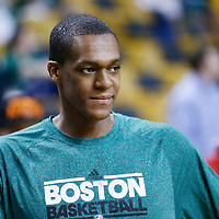 26 April 2013: Boston Celtics point guard Rajon Rondo (9) is seen prior to Game Three of the Eastern Conference Quarterfinals of the 2013 NBA Playoffs at the TD Garden, Boston, Massachusetts, USA.