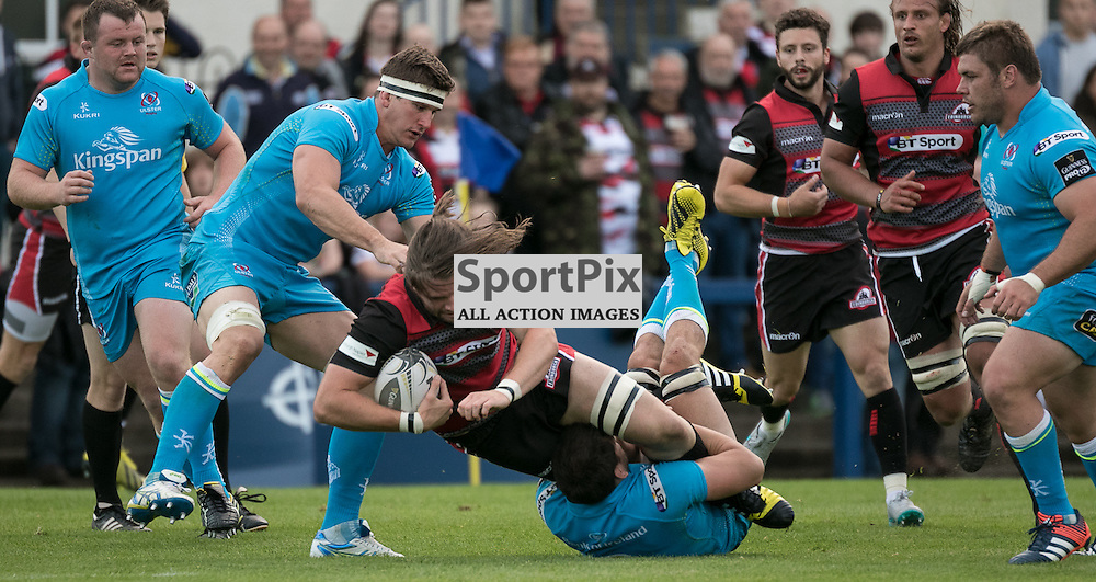 Edinburgh 26. Ben TOOLIS tries to find a way through the Ulster defence.   Edinburgh Rugby v Ulster Rugby, 28th August 2015