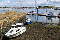 Pier, boats, moorings, Strangford, Co Down, N Ireland, UK, looking across Strangford Lough to Portaferry on the Ards Peninsula. 4th August 2018, 201808044492<br />