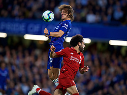 LONDON, ENGLAND - Saturday, September 29, 2018: Chelsea's David Luiz (left) and Liverpool's Mohamed Salah during the FA Premier League match between Chelsea FC and Liverpool FC at Stamford Bridge. (Pic by David Rawcliffe/Propaganda)