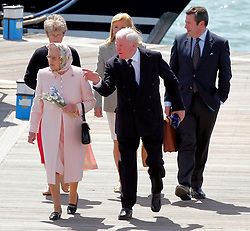 © under license to London News Pictures.  25/05/2011.  The Queen (L) pays a personal visit to Sir Donald Gosling (C), The National Car Parks Tycoon. They dined on his super yacht 'Leander' in Gunwharf, Portsmouth. Picture credit should read: Bryan Moffat/London News Pictures