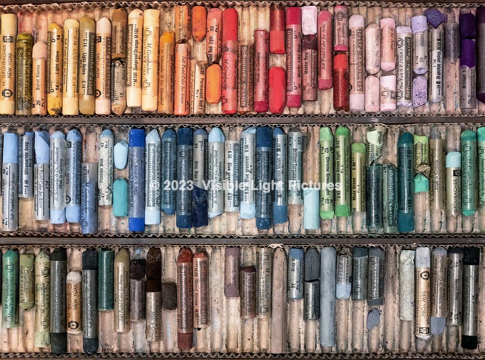 Worn artist's pastel kit