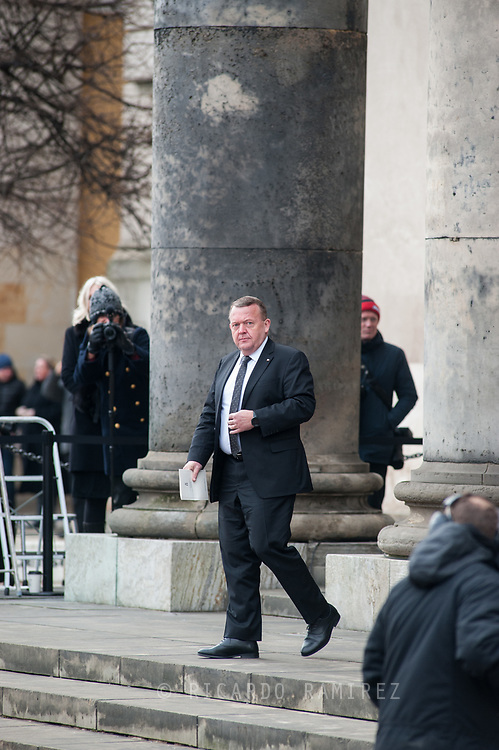 20.02.2018. Copenhagen, Denmark. <br /> Danish Prime Minister Lars Løkke Rasmussen's leaves  the Christiansborg Palace Church. <br /> Photo: Ricardo Ramirez.