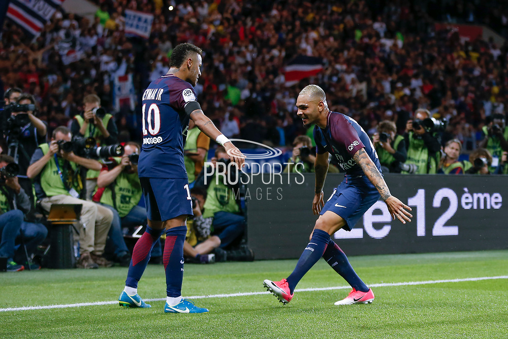 Layvin Kurzawa (psg) celebrated it goal scored from a decisive ball kicked by Neymar da Silva Santos Junior - Neymar Jr (PSG), celebration during the French championship L1 football match between Paris Saint-Germain (PSG) and Toulouse Football Club, on August 20, 2017, at Parc des Princes, in Paris, France - Photo Stephane Allaman / ProSportsImages / DPPI