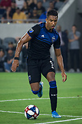 San Jose Earthquakes forward Danny Hoesen (9) moves the ball during an MLS soccer match against the LAFC. LAFC defeated the San Jose Earthquakes 4 - 0 on Wednesday, Aug. 21, 2019, in Los Angeles. (Ed Ruvalcaba/Image of Sport)