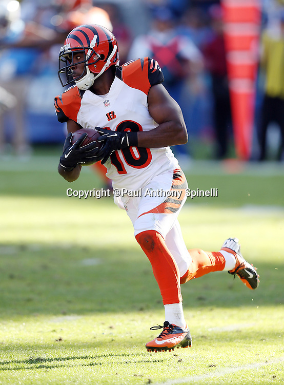 Cincinnati Bengals wide receiver Andrew Hawkins (16) runs with the ball during the NFL week 13 football game against the San Diego Chargers on Sunday, Dec. 1, 2013 in San Diego. The Bengals won the game 17-10. ©Paul Anthony Spinelli
