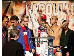 Nov 13, 2009; Las Vegas, NV, USA; Miguel Cotto weighs in for his fight against Manny Pacquiao at the MGM Grand Garden Arena in Las Vegas, Nevada.  Mandatory Credit: Ed Mulholland
