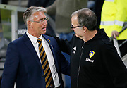 Hull City Manager Nigel Adkins and Leeds United Manager Marcelo Bielsa before kick off during the EFL Sky Bet Championship match between Hull City and Leeds United at the KCOM Stadium, Kingston upon Hull, England on 2 October 2018.