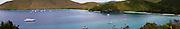 Panoramic view of Trunk Bay and Maho Bay, St. John, US Virgin Islands.
