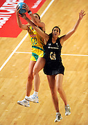 Julie Corletto (AUS) / Maria Tutaia (NZ)<br /> Netball - 2009 Holden International Test Series<br /> Australian Diamonds v New Zealand Silver Ferns<br /> Wednesday 9 September 2009<br /> Hisense Arena, Melbourne AUS<br /> © Sport the library / Jeff Crow