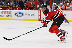 Jan 21; Newark, NJ, USA; New Jersey Devils left wing Alexei Ponikarovsky, acquired in a trade with the Carolina Hurricanes last night, skates during the first period of their game against the Philadelphia Flyers at the Prudential Center.