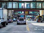 03 MAY 2017 - MINNEAPOLIS, MN: Skyways in downtown Minneapolis. The skyways are enclosed pedestrian overpasses that connect downtown buildings. The Minneapolis Skyway was started in the early 1960s as a response to covered shopping malls in the suburbs that were drawing shoppers out of the downtown area. The system grew sporadically until 1974, when the construction of the IDS Center and its center atrium, called the Crystal Court, served as a hub for the downtown skyway system. There are 8 miles of skyways, connecting most of the downtown buildings from Target Field (home of the Minnesota Twins) to US Bank Stadium (home of the Minnesota Vikings). In the last five years many upscale downtown apartment buildings and condominium developments have been added to the system, allowing downtown residents to live and work downtown without going outside.    PHOTO BY JACK KURTZ