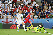 England Forward Jamie Vardy attempts at goal during the Euro 2016 Group B match between Slovakia and England at Stade Geoffroy Guichard, Saint-Etienne, France on 20 June 2016. Photo by Phil Duncan.