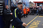 Ederson Moraes (31) of Manchester City gets off the team bus on arrival at the Viatlity Stadium before the Premier League match between Bournemouth and Manchester City at the Vitality Stadium, Bournemouth, England on 2 March 2019.