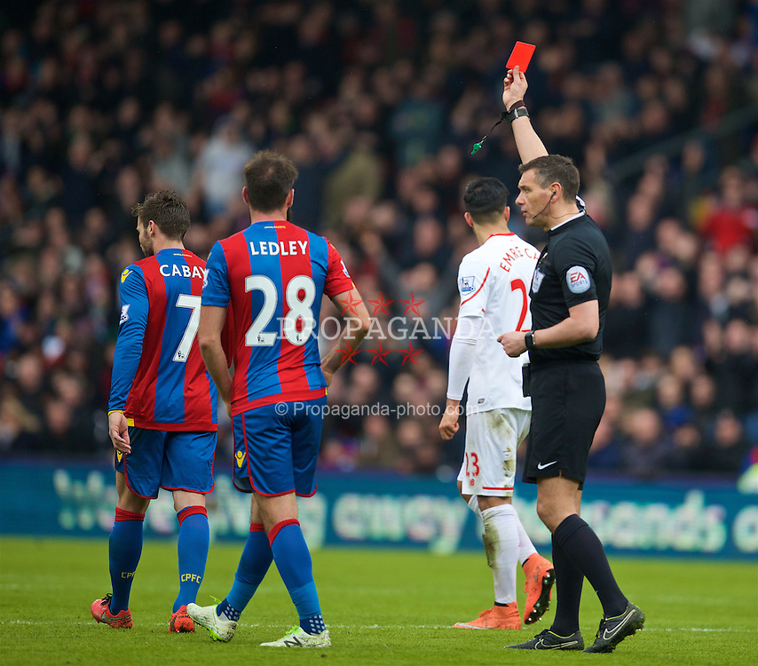 LONDON, ENGLAND - Sunday, March 6, 2016: Referee Andre Marriner shows Liverpool's James Milner [not in frame] a red card for a second booking during the Premier League match against Crystal Palace at Selhurst Park. (Pic by David Rawcliffe/Propaganda)