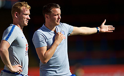 LONDON, ENGLAND - Saturday, September 29, 2018: Chelsea's manager Joe Edwards (right) during the Under-23 FA Premier League 2 Division 1 match between Chelsea FC and Liverpool FC at The Recreation Ground. (Pic by David Rawcliffe/Propaganda)