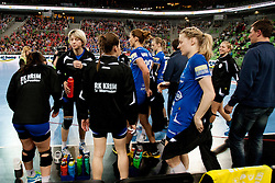 Team Krim Mercator before handball match between RK Krim Mercator (SLO) and Larvik HK (NOR) in second game of semi final of EHF Women's Champions League 2012/13 on April 13, 2013 in Arena Stozice, Ljubljana, Slovenia. (Photo By Urban Urbanc / Sportida).