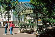 FRANCE, PARIS, MONTMARTRE Place des Abbesses, the best remaining Guimard Art Nouveau metro entrance
