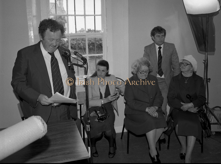 Opening of Automatic Telephone Exchanges, Aran Mor..1980-06-20.20th June 1980.20/06/1980.06-20-80..Minister of State at the Department of Posts and Telegraphs, Mark Killilea, opens the new automatic exchange at Kilronan on Inismore...From left:..First: Minister of State at the Department of Posts and Telegraphs, Mark Killilea TD...Second: Máire Geoghegan-Quinn TD, Minister for the Gaeltacht...Third: Máire Bn. Nic Giolla Phádraig, Postmistress Kilronan who looks after the exchange...Fifth: Máire Bn. Ui Chonghaile, Post Mistress of Kill Murvey, Inismore.