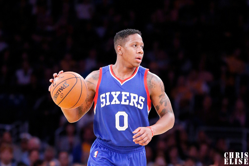 22 March 2015: Philadelphia 76ers guard Isaiah Canaan (0) brings the ball up court during the Los Angeles Lakers 101-87 victory over the Washington Wizards, at the Staples Center, Los Angeles, California, USA.