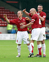 Photo: Dave Linney.<br />Walsall v Mansfield Town. Coca Cola League 2. 30/09/2006Walsall's .Dean Keates(L) celebrates his goal with Michael Dobson(C) and Anthony Gerrard