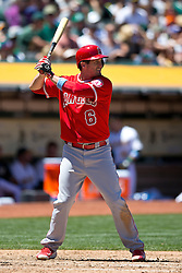 OAKLAND, CA - JUNE 21:  David Freese #6 of the Los Angeles Angels of Anaheim at bat against the Oakland Athletics during the fourth inning at O.co Coliseum on June 21, 2015 in Oakland, California. The Oakland Athletics defeated the Los Angeles Angels of Anaheim 3-2. (Photo by Jason O. Watson/Getty Images) *** Local Caption *** David Freese