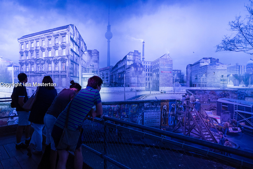 Panorama painting by artist Yadegar Asisi recreating the Berlin Wall at East German border in Berlin Germany