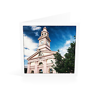 Photo Art Greeting Card | New England Collection | Inverell Town Hall | Printed on lightly textured matte art paper stock, blank inside. White envelope included, packaged in sealed poly bag. Dimensions: Card 123 x 123mm. Envelope 130 x 130mm.<br /> <br /> Click &quot;Add to Cart&quot; to compose your own mix of 5 or 10 cards from this collection.