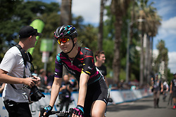 Alexis Ryan (USA) of CANYON//SRAM Racing approaches the start before the fourth, 70 km road race stage of the Amgen Tour of California - a stage race in California, United States on May 22, 2016 in Sacramento, CA.