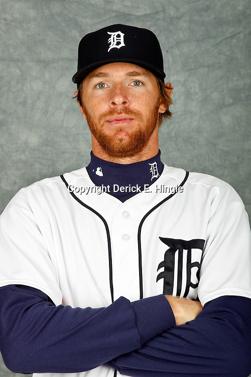 February 28, 2012; Lakeland, FL, USA; Detroit Tigers relief pitcher Collin Balester (31) poses for photo day in the rec room at the Detroit Tigers Headquarters.  Mandatory Credit: Derick E. Hingle-US PRESSWIRE