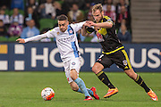 28 Mar 2016: Anthony Caceres of Melbourne City and Hamish Watson of the Wellington Phoenix contest the ball during the 25th round of the 2015-16 Hyundai A-League Season between Melbourne City and Wellington Phoenix held at AAMI Park, VIC, Australia. (Photo by Jason Heidrich/Icon Sportswire)
