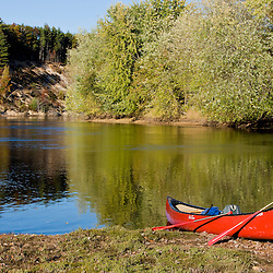 A canoe on the shore of the Merrimack River in Canterbury, New Hampshire.