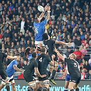 Unfortunately for Manu Samoa, retaining the ball on lineouts was not always automatic, though Piula Faasalele desperately tried.  The New Zealand All Blacks defeated Manu Samoa 15's 83-0 at Eden Park, Auckland, New Zealand.  Photo by Barry Markowitz, 6/16/17