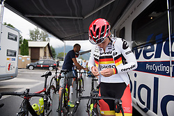 Lisa Klein prepares for La Course 2017 - a 67.5 km road race, from Briancon to Izoard on July 20, 2017, in Hautes-Alpes, France. (Photo by Sean Robinson/Velofocus.com)