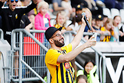 GOTHENBURG, SWEDEN - APRIL 14: Artis Sean Banan performs ahead of the Allsvenskan match between BK Hacken and Dalkurd FF at Bravida Arena on April 14, 2018 in Gothenburg, Sweden. Photo by Nils Petter Nilsson/Ombrello ***BETALBILD***