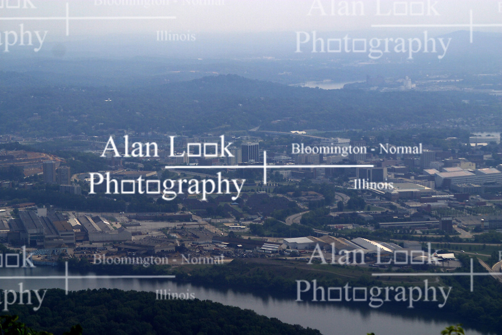 July 2007:  View of the City of Chattanooga from LookOut Mountain. Attractions near Chattanooga Tennessee. Point Park, National Park Service - Lookout Mountain, TN.