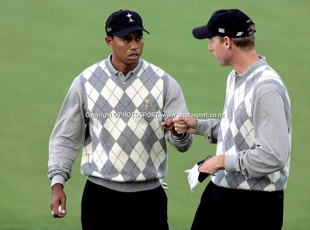 Ryder Cup Day One, K Club 22/9/2006<br /> Tiger Woods and Jim Furyk celebrate winning the 11th  hole.<br /> Mandatory Credit &copy;INPHO/Tom Honan<br /> RYDER CUP<br />  ***FOR EDITORIAL USE ONLY. NO USAGE FOR MOBILE PHONE OPERATORS**
