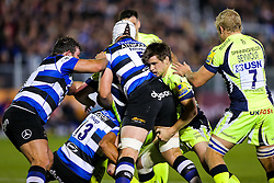 AJ MacGinty of Sale Sharks challenges Dave Attwood of Bath Rugby - Rogan Thomson/JMP - 07/10/2016 - RUGBY UNION - The Recreation Ground - Bath, England - Bath Rugby v Sale Sharks - Aviva Premiership.