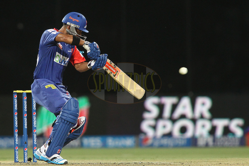 Jean-Paul Duminy of the Delhi Daredevils plays a delivery square during match 23 of the Pepsi Indian Premier League Season 2014 between the Delhi Daredevils and the Rajasthan Royals held at the Feroze Shah Kotla cricket stadium, Delhi, India on the 3rd May  2014<br /> <br /> Photo by Shaun Roy / IPL / SPORTZPICS<br /> <br /> <br /> <br /> Image use subject to terms and conditions which can be found here:  http://sportzpics.photoshelter.com/gallery/Pepsi-IPL-Image-terms-and-conditions/G00004VW1IVJ.gB0/C0000TScjhBM6ikg
