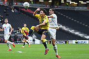 Coventry City midfielder (on loan from Aston Villa) Callum O'Hare (17) battles for possession  with Milton Keynes Dons defender Joe Walsh (4) during the EFL Sky Bet League 1 match between Milton Keynes Dons and Coventry City at stadium:mk, Milton Keynes, England on 19 October 2019.