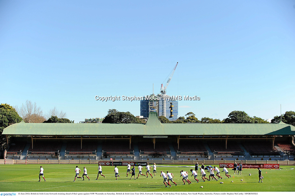 13 June 2013; British & Irish Lions forwards training ahead of their game against NSW Waratahs on Saturday. British & Irish Lions Tour 2013, Forwards Training, North Sydney Oval, Sydney, New South Wales, Australia. Picture credit: Stephen McCarthy / SPORTSFILE