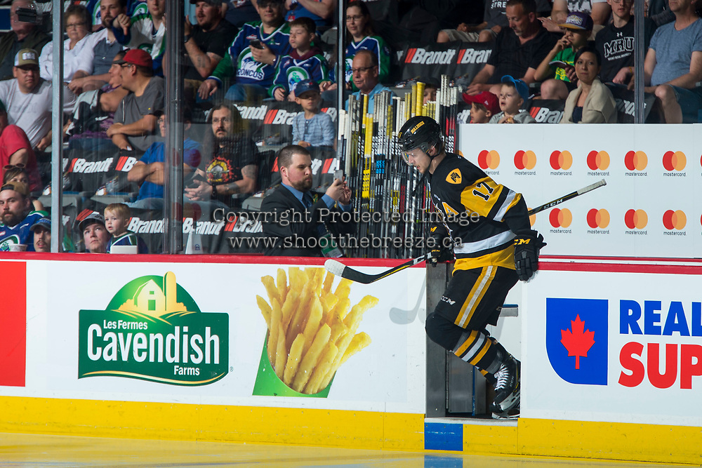 REGINA, SK - MAY 21: Brandon Saigeon #17 of Hamilton Bulldogs enters the ice against the Swift Current Broncos at the Brandt Centre on May 21, 2018 in Regina, Canada. (Photo by Marissa Baecker/CHL Images)