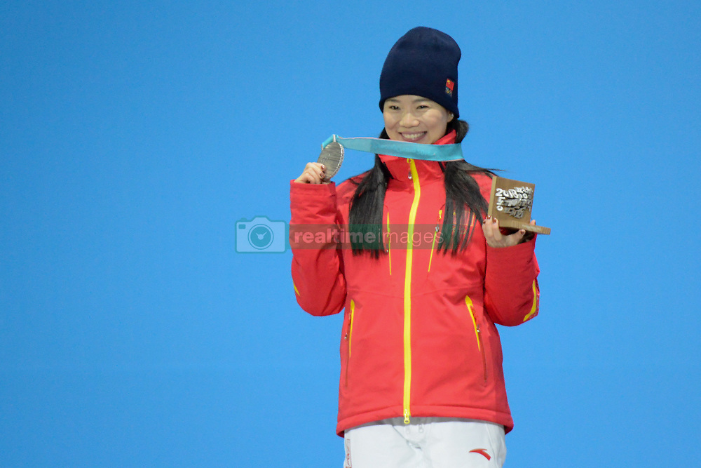 February 17, 2018 - Pyeongchang, South Korea - ZHANG XIN of China celebrates getting the silver medal in the Ladies' Arials freestyle skiing skating event in the PyeongChang Olympic Games. (Credit Image: © Christopher Levy via ZUMA Wire)