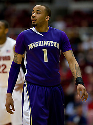 February 13, 2010; Stanford, CA, USA;  Washington Huskies guard Venoy Overton (1) during the first half against the Stanford Cardinal at Maples Pavilion. Washington defeated Stanford 78-61.