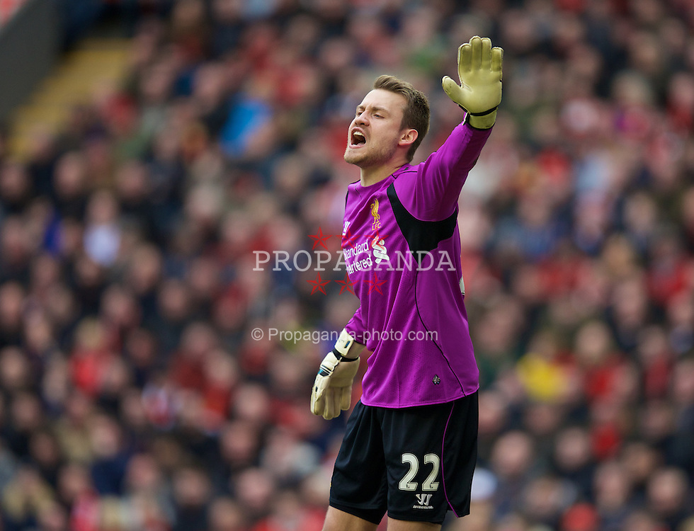 LIVERPOOL, ENGLAND - Sunday, March 1, 2015: Liverpool's goalkeeper Simon Mignolet in action against Manchester City during the Premier League match at Anfield. (Pic by David Rawcliffe/Propaganda)